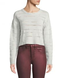 Rag  amp  Bone Penn Cropped Sweater with Sheer Stripe Detail at Neiman Marcus