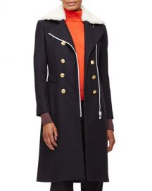 Rag  amp  Bone Sullivan Double-Breasted Coat w Shearling Collar at Neiman Marcus