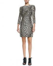 Rag and Bone 34-Sleeve Fitted Leopard Dress at Neiman Marcus