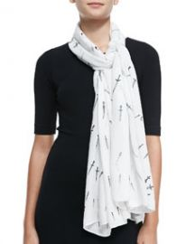 Rag and Bone Classic Dagger Wool Scarf White at Neiman Marcus