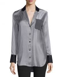 Rag and Bone Farah Silk Striped Blouse at Neiman Marcus