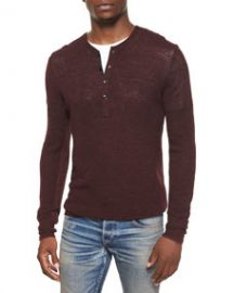 Rag and Bone Garrett Long-Sleeve Thermal Henley Shirt Burgundy at Neiman Marcus