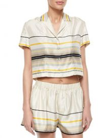 Rag and Bone Layne Short-Sleeve Striped Top at Neiman Marcus