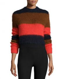 Rag and Bone Petra Striped Pullover Sweater Fiery Red at Neiman Marcus