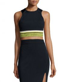 Rag and Bone Sheridan Ribbed Sleeveless Crop Top Navy at Neiman Marcus