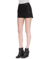 Rag and Bone Tatiana Leather-Trim Shorts at Neiman Marcus