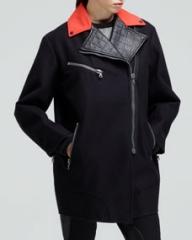 Rag and Bone Turner Contrast-Collar Zip Coat at Neiman Marcus