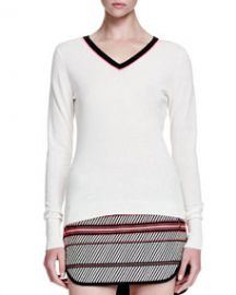Rag and Bone Vivian Contrast V-Neck Sweater at Neiman Marcus