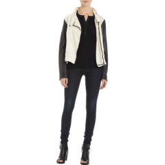 Rag andamp Bone Leather Sleeves Moto Jacket at Barneys