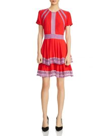 Raglia Tiered Lace-Inset Dress by Maje at Bloomingdales