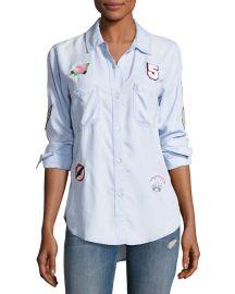 Rails Carter Button-Down Patchwork Denim Shirt Blue at Neiman Marcus