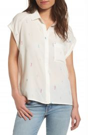 Rails Chase Seahorse Print Silk Shirt at Nordstrom