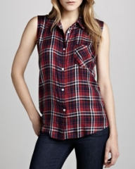 Rails Gavin Sleeveless Plaid Blouse at Neiman Marcus