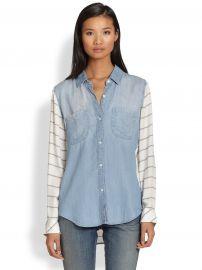 Rails Harper Contrast-Paneled Denim Shirt at Saks Fifth Avenue