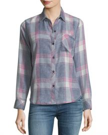 Rails Hunter Button-Front Long-Sleeve Plaid Shirt  Storm Pink Cloud Wash at Neiman Marcus
