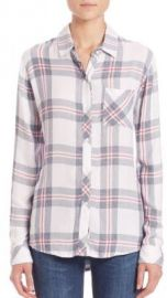 Rails Hunter Plaid Button-Front Shirt in White Fog at Saks Fifth Avenue