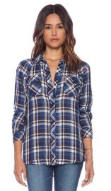 Rails Kendra Button Down in Sky and Navy and White  REVOLVE at Revolve