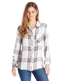 Rails Womenand39s Hunter Plaid Button-Front Shirt in White Navy Coral at Amazon