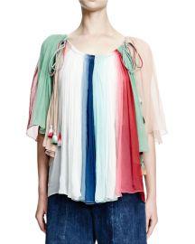 Rainbow-Striped Silk Tassel Top at Bergdorf Goodman