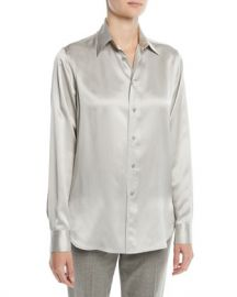 Ralph Lauren Collection Bacall Button-Front Long-Sleeve Silk Blouse at Neiman Marcus