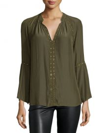 Ramy Brook Darcy Long-Sleeve Peasant Top, Urban Green at Neiman Marcus