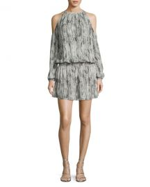 Ramy Brook Lauren Snakeskin Cold-Shoulder Blouson Dress  Gunmetal at Neiman Marcus