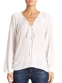 Ramy Brook - Paris V-Neck Shirred Blouse at Saks Fifth Avenue