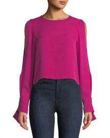 Ramy Brook Addy Open-Sleeve Silk Blouse at Neiman Marcus
