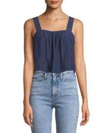 Ramy Brook Gwyn Square-Neck Sleeveless Cropped Top at Neiman Marcus