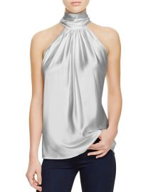 Ramy Brook Paige Tie Neck Silk Top Silver at Bloomingdales