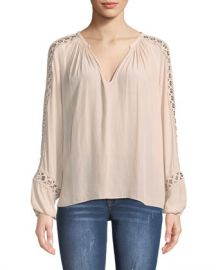 Ramy Brook Sera V-Neck Long-Sleeve Blouse with Grommet Trim at Neiman Marcus
