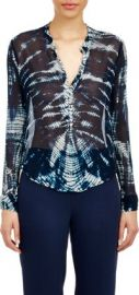 Raquel Allegra Chiffon Henley Blouse at Barneys