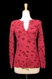 Raspberry floral henley at Splendid