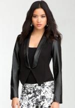 Ravenna Leather Contrast Blazer by Bebe at Bebe