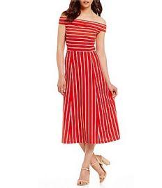 Rayan Off-the-Shoulder Striped Midi Dress at Dillards
