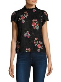 Rebecca Taylor - Floral Lace Embellishments Top at Saks Fifth Avenue