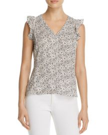 Rebecca Taylor Floral Print Silk Ruffle Top x at Bloomingdales