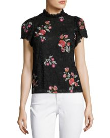 Rebecca Taylor Short-Sleeve Floral-Embroidered Lace Top at Neiman Marcus