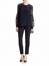Rebecca Taylor Silk Lace-Panel Top at Saks Fifth Avenue