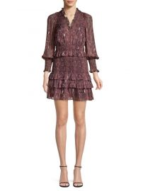 Rebecca Taylor Smocked Snake Print Mini Dress at Saks Fifth Avenue