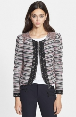 Rebecca Minkoff Roxy Studded Multi Stripe Boucl Jacket at Nordstrom