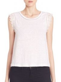 Rebecca Taylor - Embroidered Linen Tee at Saks Off 5th