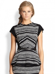 Rebecca Taylor - Frayed Leather-Trim Tweed Peplum Top at Saks Fifth Avenue