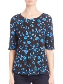 Rebecca Taylor - Kyoto Floral On Linen Jersey Tee at Saks Off 5th