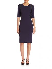 Rebecca Taylor - Ponte andamp Faux-Leather Sheath Dress at Saks Fifth Avenue
