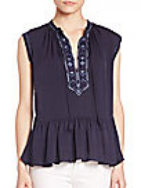 Rebecca Taylor - Sleeveless Embroidered Top at Saks Off 5th