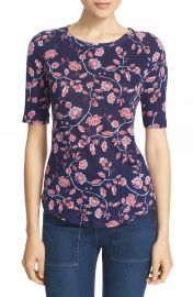 Rebecca Taylor  Kyoto Floral  Print Linen Knit Tee at Nordstrom