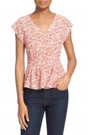 Rebecca Taylor  Provence Block  Print Silk V-Neck Top at Nordstrom