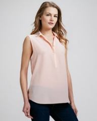 Rebecca Taylor Bead-Collar Silk Blouse at Neiman Marcus