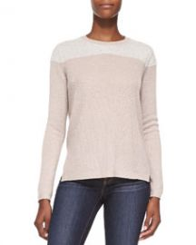 Rebecca Taylor Cashmere Fuzzy-Yoke Pullover Sweater at Neiman Marcus